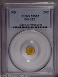 California Fractional Gold: , Undated 25C Liberty Round 25 Cents, BG-222, R.2, MS62 PCGS. PCGSPopulation (114/216). (#10407)...