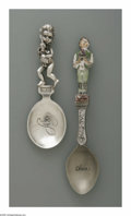 Other:American, TWO SOUVENIR SPOONS. Maker unknown. The two souvenir spoons withsculptural figural handles, the first, a young child with...(Total: 2 Items)