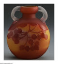 Glass, A FRENCH GLASS VASE. Emile Gallé, c.1890. The round vase centered between two clear etched handles, the body in a ground o... (Total: 1 Item Item)