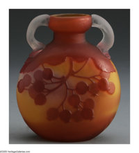 A FRENCH GLASS VASE Emile Gallé, c.1890  The round vase centered between two clear etched handles, the body in a...