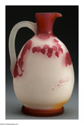 Glass, A FRENCH OVERLAID AND ETCHED GLASS EWER. Emile Gallé, c.1890. The ewer in an orange, clear and red ground overlaid in red ... (Total: 1 Item Item)