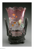 Art Glass:Other , AN ENAMELED GLASS SPOONER. Maker unknown. The spooner withcranberry insert with scallop rim, flower and leaf enameling si...(Total: 2 Items)