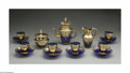 Art Glass:Other , A BOHEMIAN ENAMELED GLASS TEA SET. Maker unknown, Late 20thCentury. The Bohemian clear cobalt tea set with gold enameling...(Total: 15 Items)