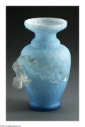 Art Glass:Other , AN AMERICAN ART GLASS VASE. The ovoid form diamond quilt vase casedin white with applied frosted glass flower. 5.75in. ta...