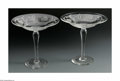 Art Glass:Webb, TWO ENGLISH ETCHED COMPOTES. Webb & Sons, England. The pair ofclear glass compotes with etched shallow bowls and long ste...(Total: 2 Items)