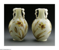 Art Glass:Other , A PAIR OF ENGLISH ART GLASS VASES. Stevens & Williams, England.The pair of white decorated glass vases with turned down t...(Total: 2 Items)