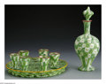 Art Glass:Other , A MILLEFIORI GLASS LIQUEUR SET. Maker unknown, Twentieth Century.The predominantly green and white millefiori set include... (Total:9 Items)