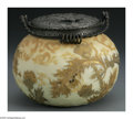 Art Glass:Other , AN AMERICAN 'CROWN MILANO' GLASS AND METAL BISCUIT JAR. Mt.Washington Glass Co., c.1890. The bulbous form ivory ground bi...