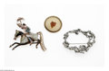 Jewelry, A GROUP OF THREE BROOCHES. Makers unknown. The group of three brooches including an enameled metal brooch of horse and rid... (Total: 3 Items Item)