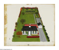 Fine Art - Painting, American:Contemporary   (1950 to present)  , LORRAINE FOX (American 1922-1976). House With Yard. Mixed media onboard. 13.25 x 16in. (overall dimension). Signed lower ri...