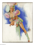 Illustration:Pin-Up, EARL MORAN (American 1893 - 1984). Dancer in Green. Pastel onboard. 25 x 20in.. Signed lower right. ...