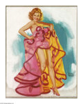 Illustration:Pin-Up, EARL MORAN (American 1893 - 1984). Dancer in Pink. Pastel on board.25 x 20in.. Signed lower right. ...