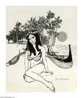 Illustration:Books, HARRY M. BORGMAN (American 1928- ). Island Girl. Pen on paper. 13.5x 11in.. Signed lower right. ...