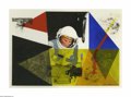 Illustration:Books, HARRY M. BORGMAN (American 1928- ). Astronaut. Mixed media. 12 x17.4in.. Signed lower right. ...