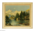 Prints:American, THOMAS MORAN (American 1837-1926). Mountain Lake. Chromolithographon paper. 22 x 28in.. Printed signature (with TYM monogra...