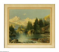 THOMAS MORAN (American 1837-1926) Mountain Lake Chromolithograph on paper 22 x 28in. Printed signature (with TYM monogra...