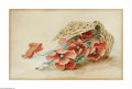 Fine Art - Painting, European:Contemporary   (1950 to present)  , ATTRIBUTED TO 'BERLIN'. Flower Basket Still Life. Watercolor onpaper. 7.5 x 12in.. Signed lower right. ...