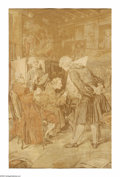 Rugs & Textiles:Tapestries, A TAPESTRY SCENE. Maker unknown. The framed tapestry depicting aColonial scene of artists at work. 36 x 24in.. ...