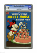 Golden Age (1938-1955):Cartoon Character, Dell Giant Comics Mickey Mouse Birthday Party #1 (Dell, 1953) CGCVF- 7.5 White pages. Goofy, Minnie Mouse, and Pluto appear...