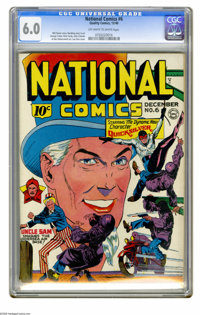 National Comics #6 (Quality, 1940) CGC FN 6.0 Off-white to white pages. Lou Fine cover. Art by George Tuska, Nick Cardy...