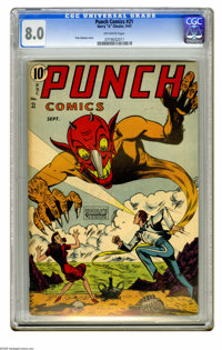 Punch Comics #21 (Chesler, 1947) CGC VF 8.0 Off-white pages. Pete Gattuso cover. Overstreet 2005 VF 8.0 value = $340. CG...