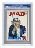 "Magazines:Mad, Mad #126 Gaines File pedigree (EC, 1969) CGC VF/NM 9.0 White pages.Uncle Sam cover by Norm Mingo. ""Family Affair"" TV satire..."