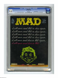 """Magazines:Mad, Mad #128 Gaines File pedigree (EC, 1969) CGC VF/NM 9.0 White pages.""""Wizard of Oz"""" musical spoof. Bob Clarke cover. Comic st..."""
