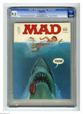 "Magazines:Mad, Mad #180 Gaines File pedigree (EC, 1976) CGC NM- 9.2 Off-white towhite pages. ""Jaws"" cover and parody. ""Earthquake"" movie s..."
