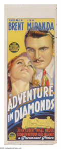 "Movie Posters:Crime, Adventure in Diamonds (Paramount, 1940). Australian Daybill (15"" X 40""). British pilot Stephen Bennett (George Brent) and hi..."