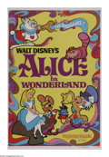 "Movie Posters:Animated, Alice in Wonderland (RKO, R-1974). One Sheet (27"" X 41""). Thiswonderful Disney animated classic took five years to complete..."