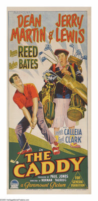 """The Caddy (Paramount, 1953). Australian Daybill (13"""" X 30""""). Harvey Miller (Jerry Lewis) is an expert with his..."""