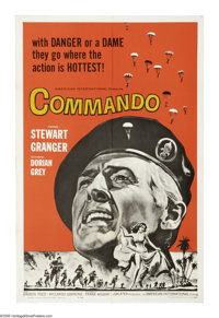 "Commando (AIP, 1964). One Sheet (27"" X 41""). Stewart Granger leads a group of commandos on a raid to kidnap a..."