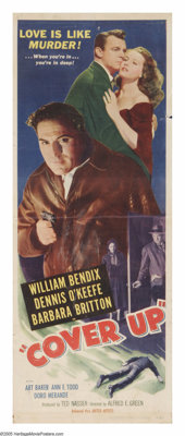 """Cover-Up (United Artists, 1949). Insert (14"""" X 36""""). This midwestern noir follows the story of an insurance de..."""