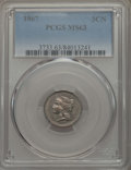 Three Cent Nickels: , 1867 3CN MS63 PCGS. PCGS Population: (196/276). NGC Census: (119/226). CDN: $125 Whsle. Bid for problem-free NGC/PCGS MS63....