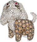 Estate Jewelry:Brooches - Pins, Diamond, Colored Diamond, Ruby, White Gold Brooch. ...