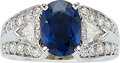 Estate Jewelry:Rings, Sapphire, Diamond, White Gold Ring, A.Jaffe Th...
