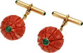 Estate Jewelry:Cufflinks, Coral, Emerald, Gold Cuff Links, French. ...