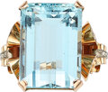 Estate Jewelry:Rings, Retro Aquamarine, Rose Gold Ring. ...
