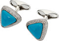 Estate Jewelry:Cufflinks, Turquoise, Diamond, White Gold Cuff Links, Eli Frei. ...
