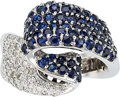 Estate Jewelry:Rings, Diamond, Sapphire, White Gold Ring. ...