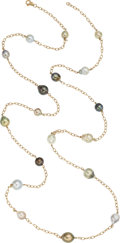 Estate Jewelry:Necklaces, South Sea Cultured Pearl, Gold Necklace . ...