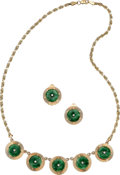 Estate Jewelry:Suites, Jadeite Jade, Diamond, Gold Jewelry Suite. ... (Total: 2 Items)