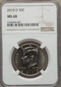 Kennedy Half Dollars, 2010-D 50C MS68 NGC. NGC Census: (3/0). PCGS Population: (2/0). ...