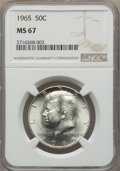 Kennedy Half Dollars, 1965 50C MS67 NGC. NGC Census: (8/0). PCGS Population: (21/0).Mintage 65,879,368. ...