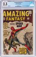 Silver Age (1956-1969):Superhero, Amazing Fantasy #15 (Marvel, 1962) CGC Conserved GD+ 2.5 Cream tooff-white pages....