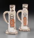 American Indian Art:Pottery, A Pair of Zuni Polychrome Candlesticks... (Total: 2 Items)