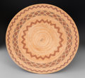 American Indian Art:Baskets, A Yokuts Polychrome Coiled Tray...
