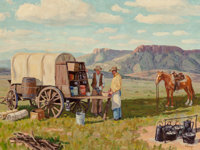 Fred Darge (American, 1900-1978) Chuck Wagon Oil on canvasboard 18 x 24 inches (45.7 x 61.0 cm)<