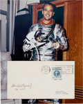 Autographs:Celebrities, Alan Shepard Signed Vintage Cover with Silver Spacesuit ColorPhoto....