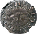 Colonials, 1652 SHILNG Oak Tree Shilling, IN at Bottom, AU50 NGC. Noe-6, W-480, Salmon 4-D, R.7....